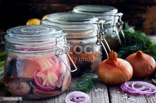 istock Variants of pickled herring in glass jars, selective focus 1040394876