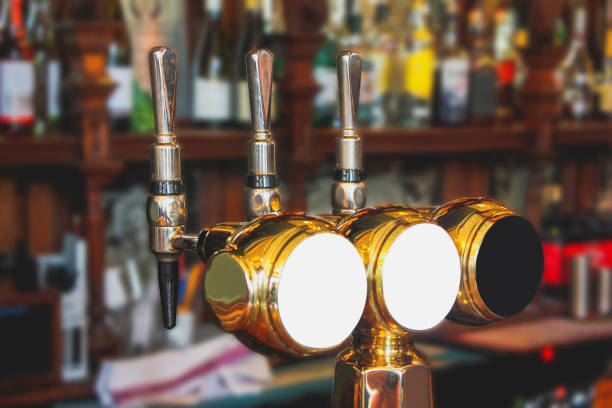 Variation beer tap in pub stock photo