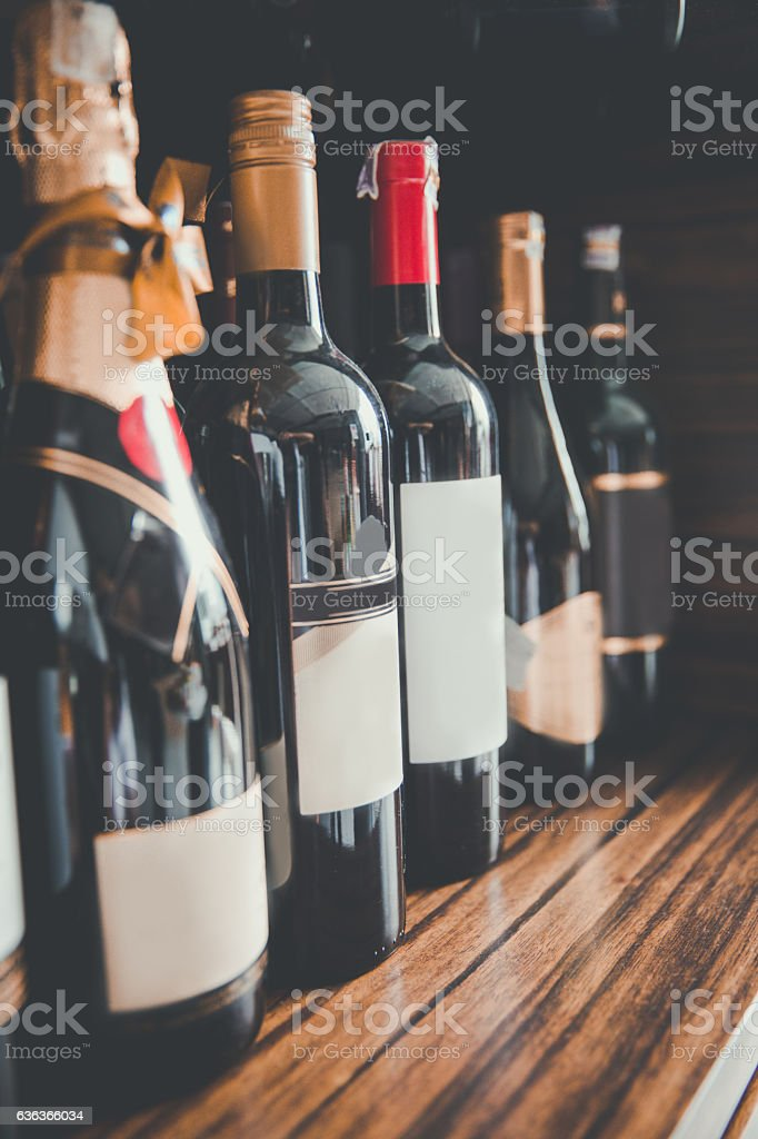 Variation bottle wine and champagne foto