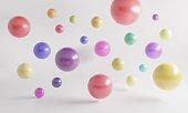 Multicolored floating spheres, symbolizing variation concepts. ( 3d render )