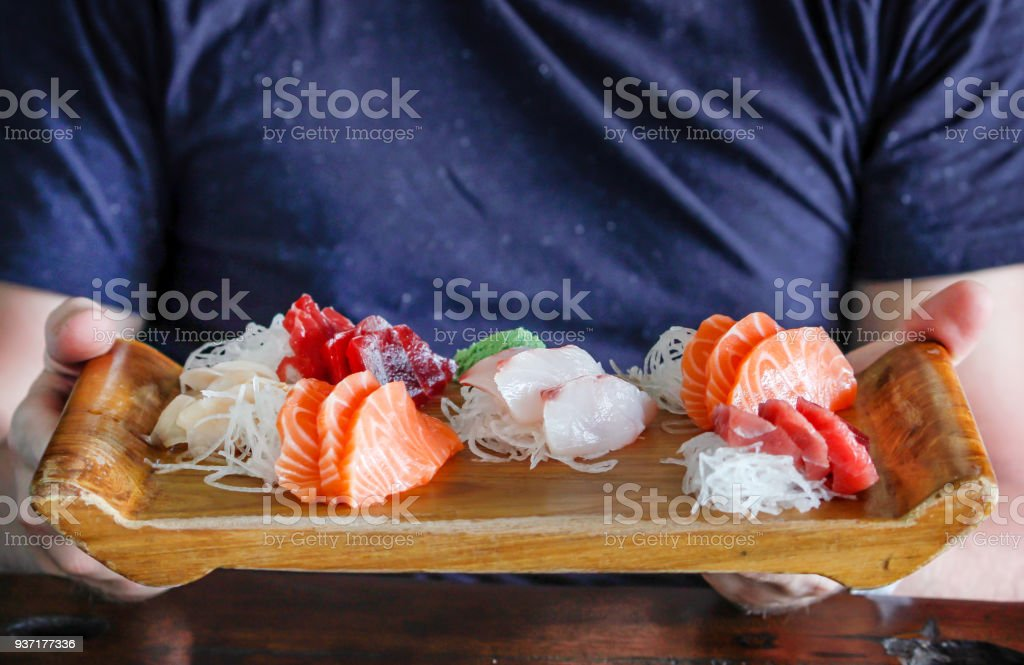 Variation fresh sashimi slices ready to eat stock photo