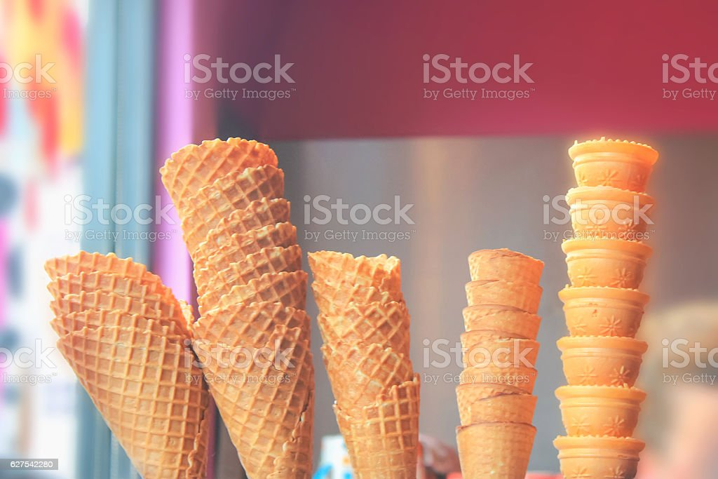 Variation ice cream cone shape stock photo