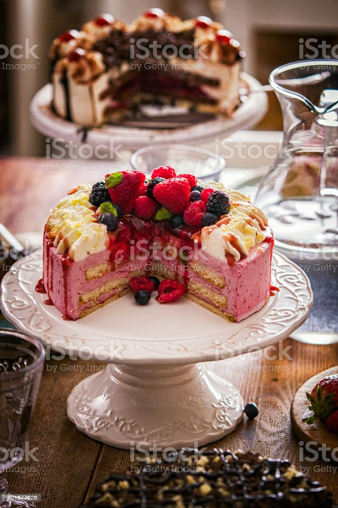 Variation of Berry Layer Cake, Chocolate Cake and Black Forest Cake stock photo
