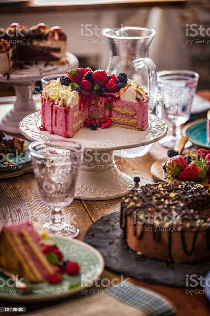 Variation of Berry Layer Cake, Chocolate Cake and Black Forest Cake royalty-free stock photo