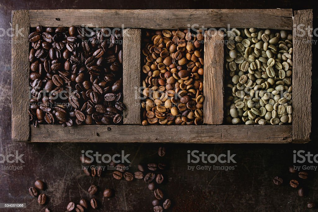 Variation of coffee beans stock photo