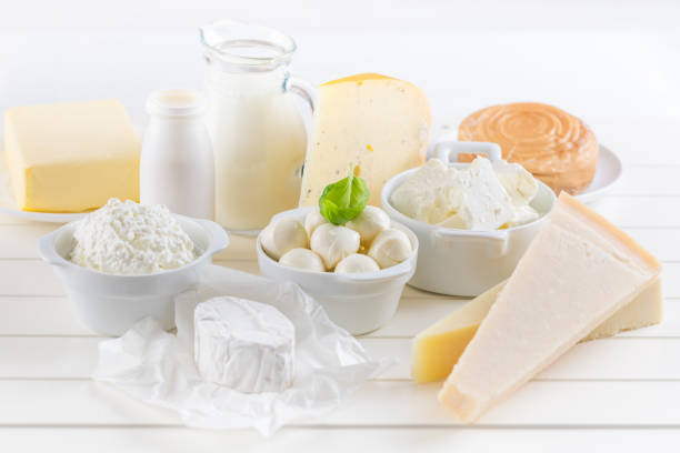 Variation of dairy products on white background stock photo