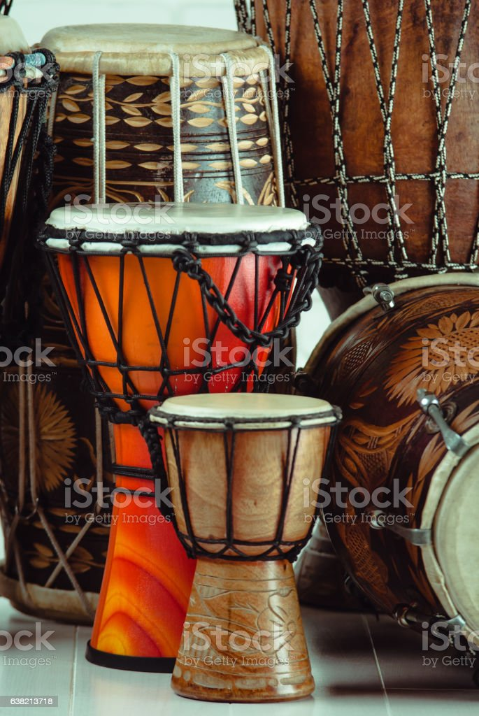 variation of ethnic drums stock photo