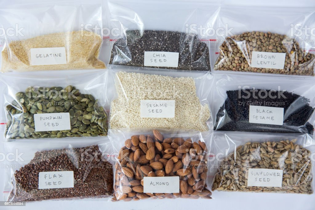 Variation of healthy organic seeds stock photo