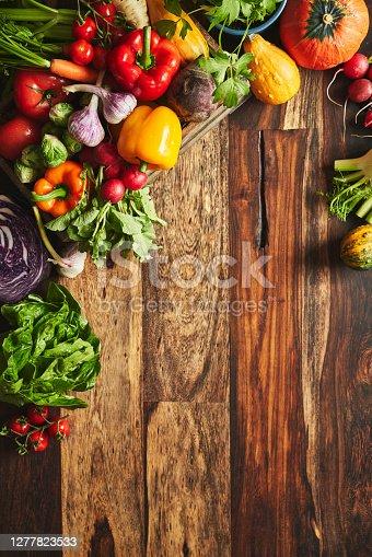 Variation of Healthy Vegetables on Rustic Background