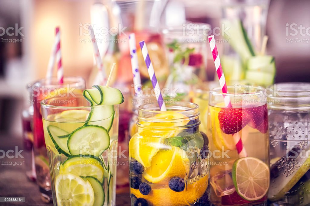 Variation of Infused water with fresh fruits like raspberries, lemon,...