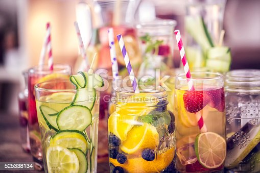 Variation of Infused water with fresh fruits like raspberries, lemon, pomegranate,berries, oranges, lime and mint.