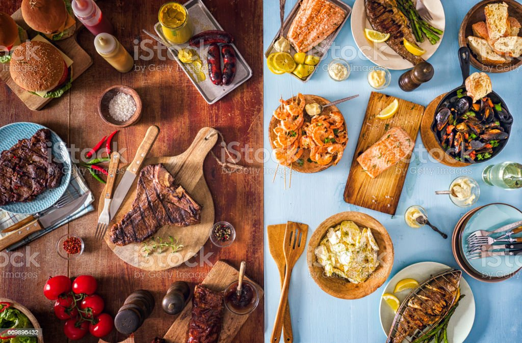 Variation of Meat and Fish Seafood Barbecue stock photo