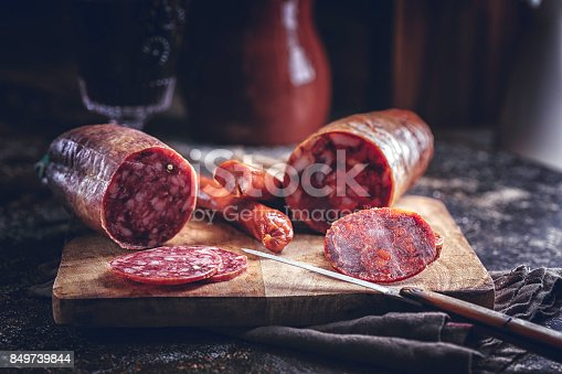 Variation of Spanish Appetizer Salami, Sausage, Ham and Good Quality Cheese on Rustic Background