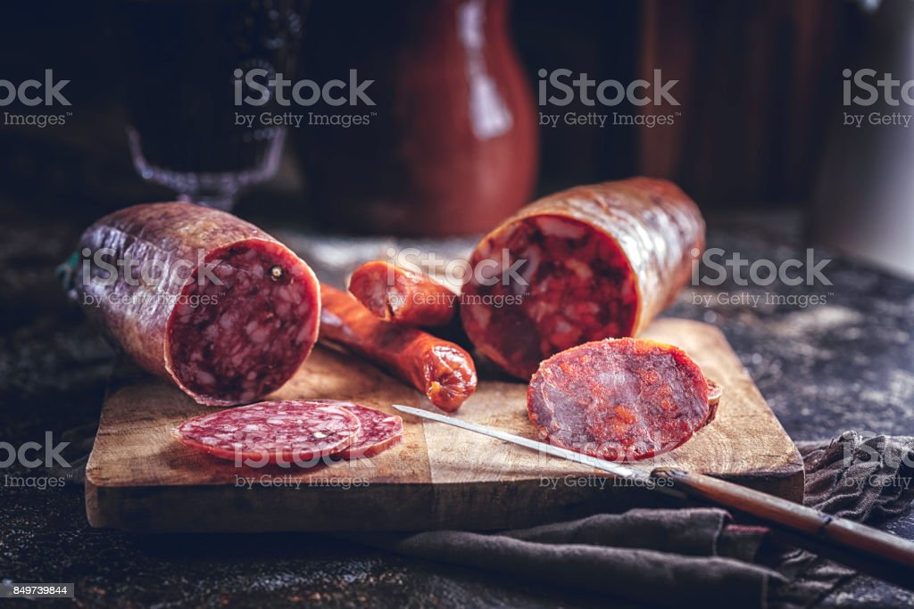 Variation of Spanish Appetizer Salami, Sausage, Ham and Good Quality Cheese stock photo
