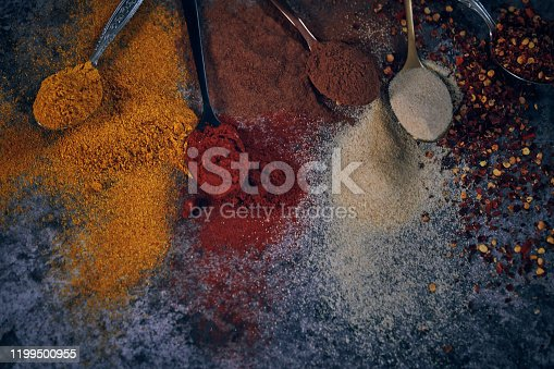 Variation of Spices Chili Powder, Cayenne Pepper, Turmeric, Cumin, and Garlic Powder