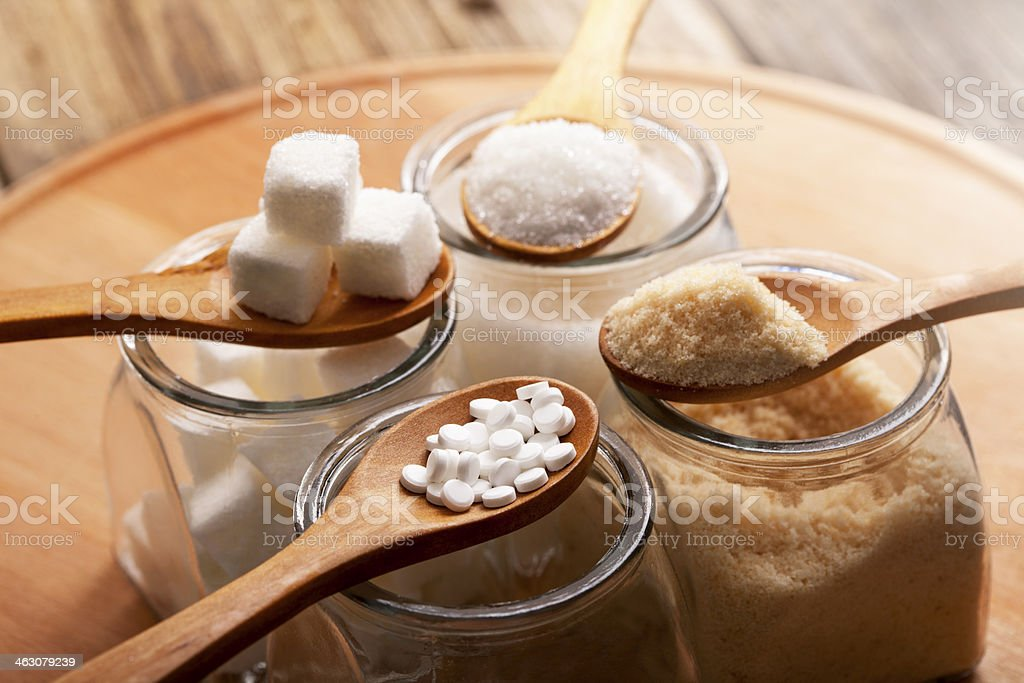 variation of sugar stock photo