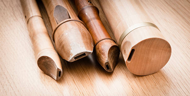 variation of wooden recorders - recorder stock photos and pictures