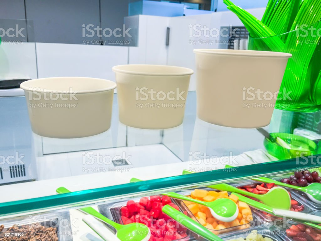 Variation size of yogurt container stock photo