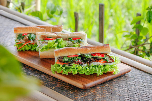 Variation Vietnamese banh mi sandwich Variation Vietnamese banh mi sandwich bánh mì sandwich stock pictures, royalty-free photos & images