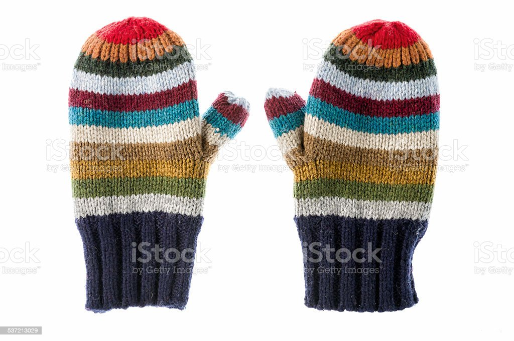Varicolored striped mittens stock photo