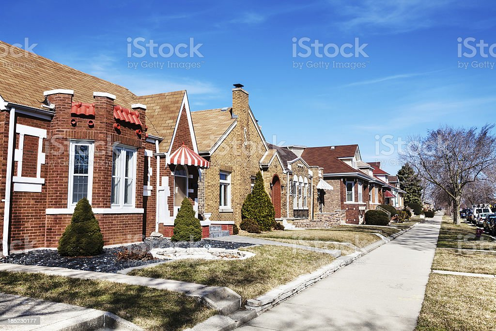 Varied Bungalows in West Lawn, Chicago royalty-free stock photo