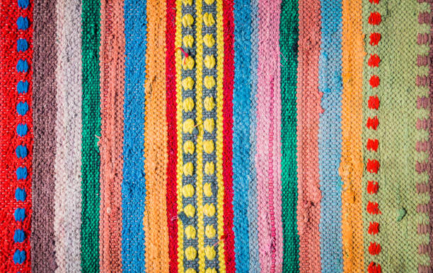 variegated homespun rustic mat - textile pattern stock photos and pictures