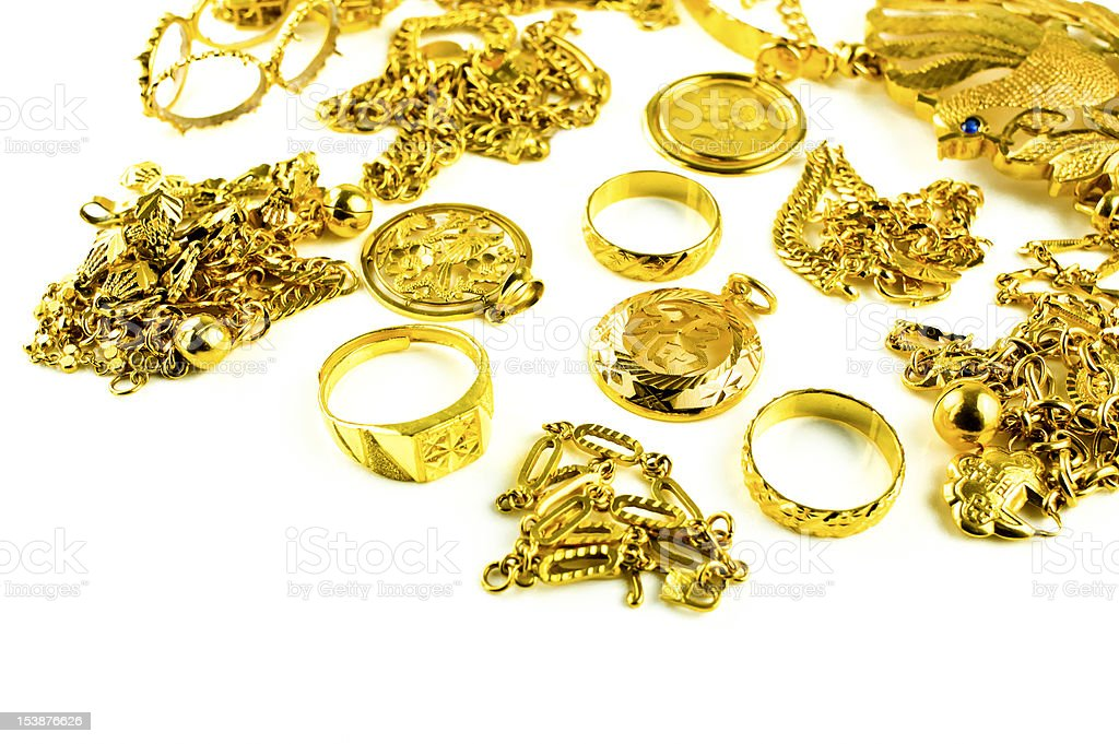 Varies Gold Jewelry royalty-free stock photo