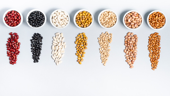 istock Varieties of beans on gray background 1135797085