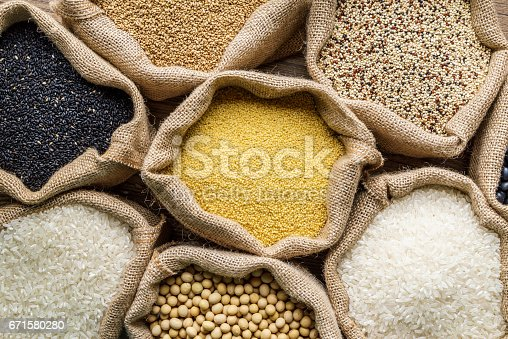 istock Varieties of Grains Seeds and Raw Quino 671580280