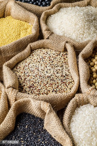 istock Varieties of Grains Seeds and Raw Quino 671580300