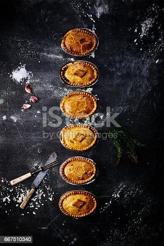 istock Varieties of meat and vegetarian pies on table 667510340