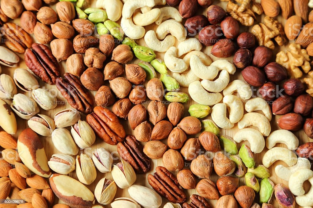 Varieties of nuts. stock photo