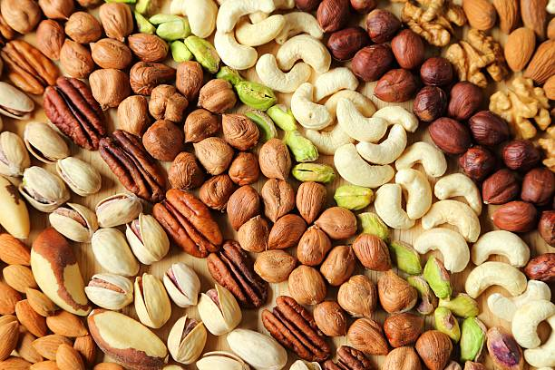 Varieties of nuts. stock photo