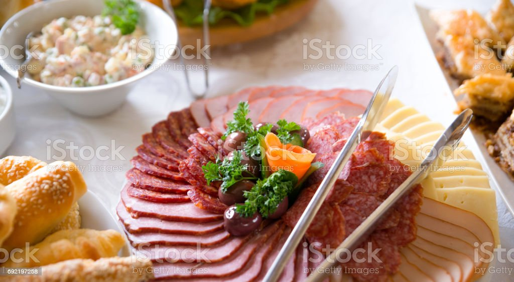 variety catering food on a table, food decoration, party concept, delicatessen stock photo