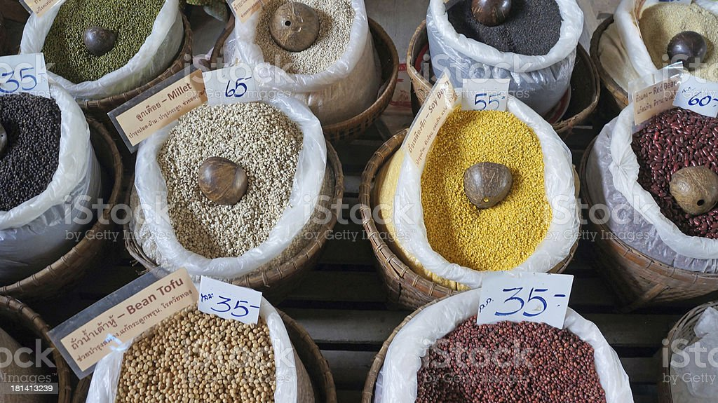 Variety cereals at market royalty-free stock photo