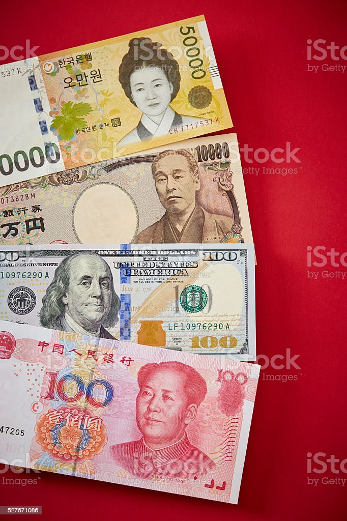 Variety countries currency stock photo