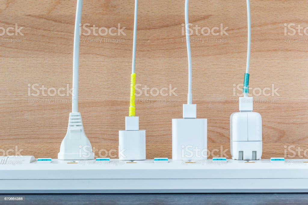 Variety electricity cables from charging station, energy supply concept. stock photo