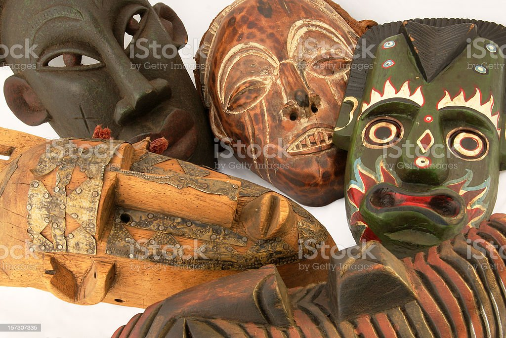 Variety of African masks stock photo