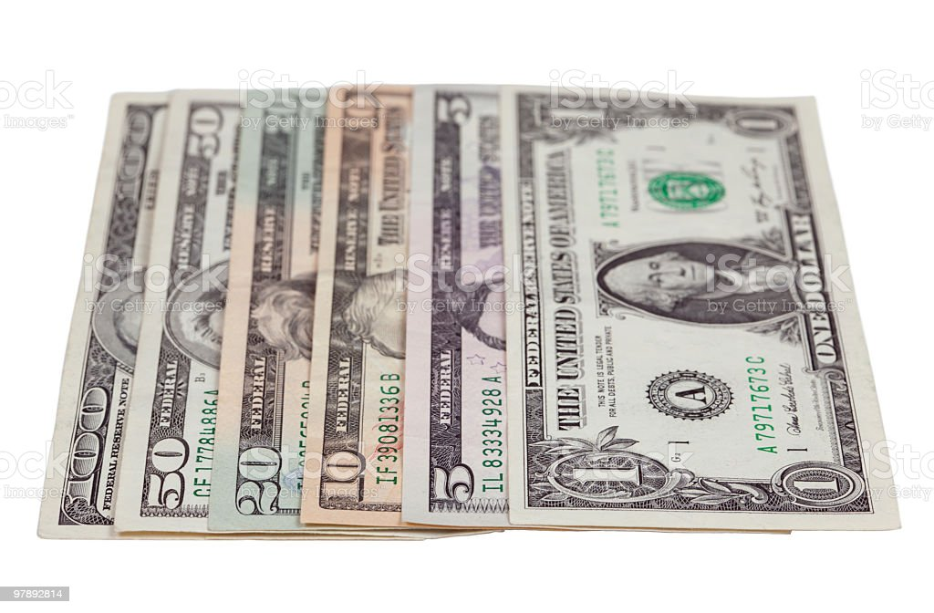 Variety of American dollar bills royalty-free stock photo