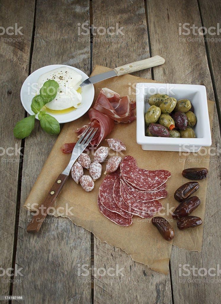 Variety of antipasti. stock photo