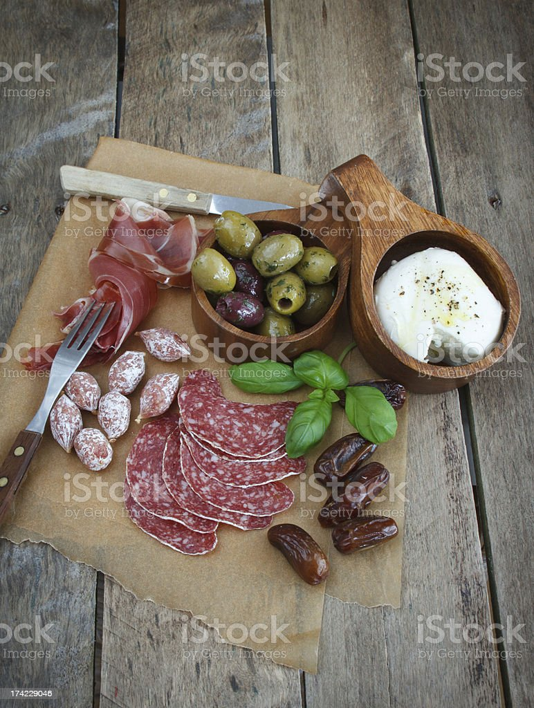 Variety of antipasti. stock photo
