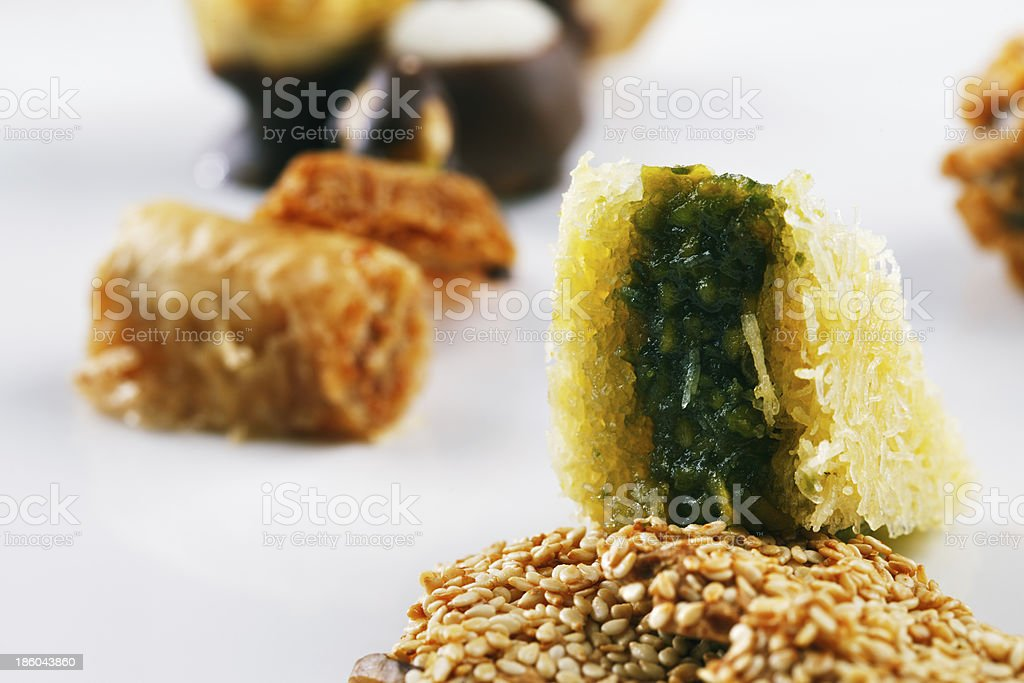 Variety of Arabic sweets on a white background royalty-free stock photo