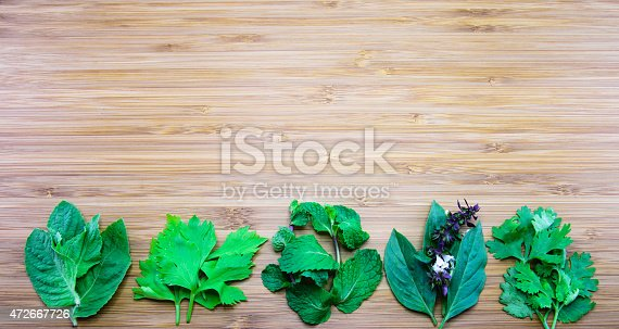 Aroma leaves of Thai traditional herbs (from left