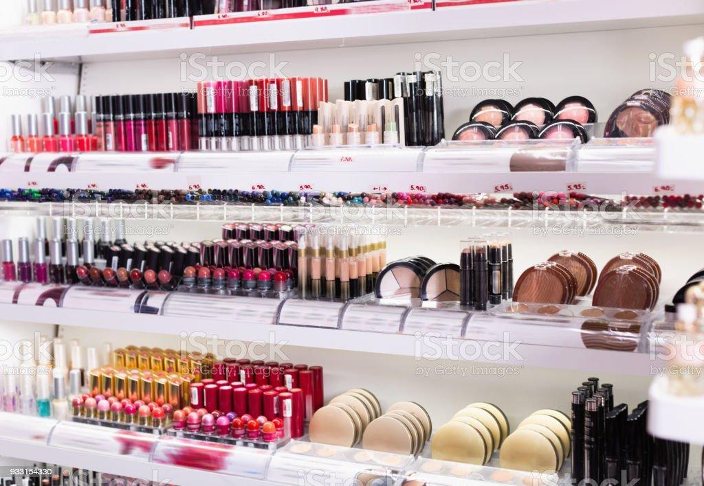 Variety of assortment of modern cosmetics store stock photo