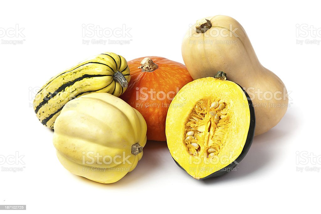 Variety of Autumn Squashes on White Background stock photo