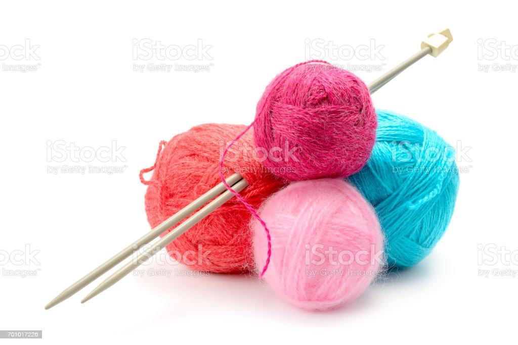 Variedad de bolas de hilo de lana - foto de stock