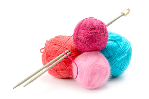 variety of balls of woolen thread - wool stock photos and pictures