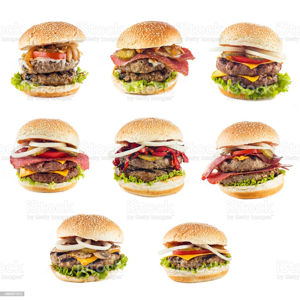 Variety of Big Fat  Homemade Hamburgers stock photo