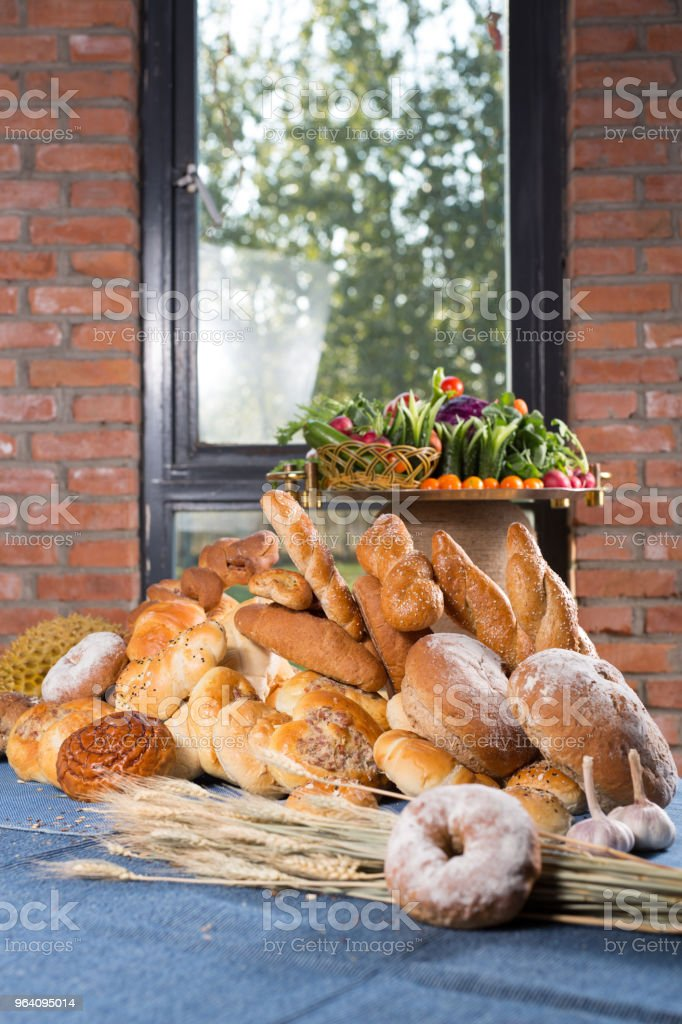 Variety of bread from bakery & Vegetarian plate - Royalty-free Baguette Stock Photo