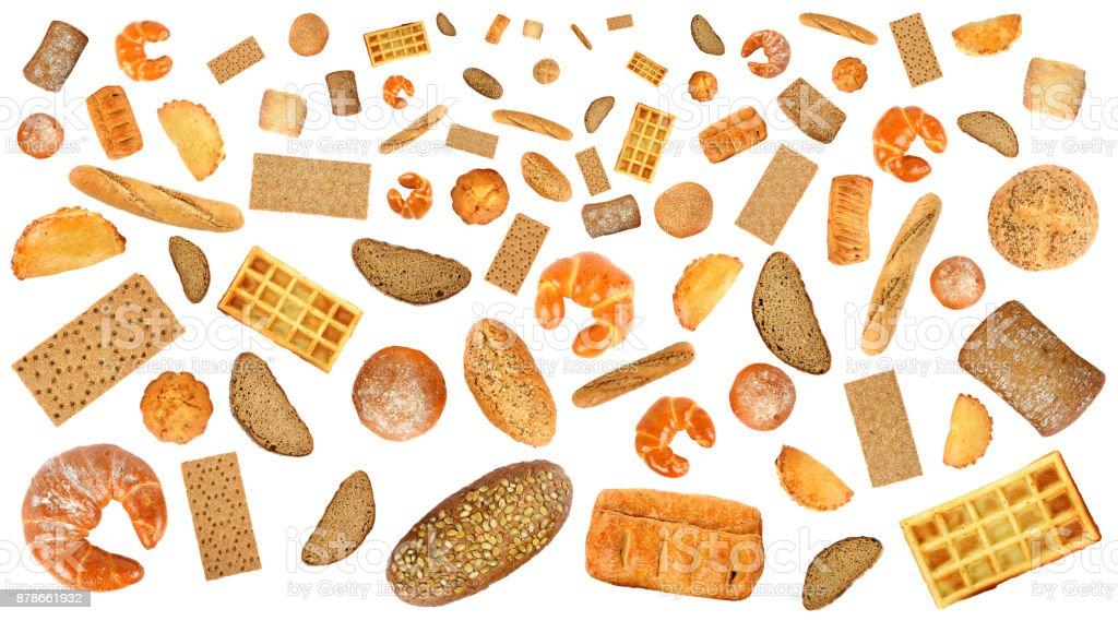Variété de produits de boulangerie pour la disposition isolé sur blanc - Photo